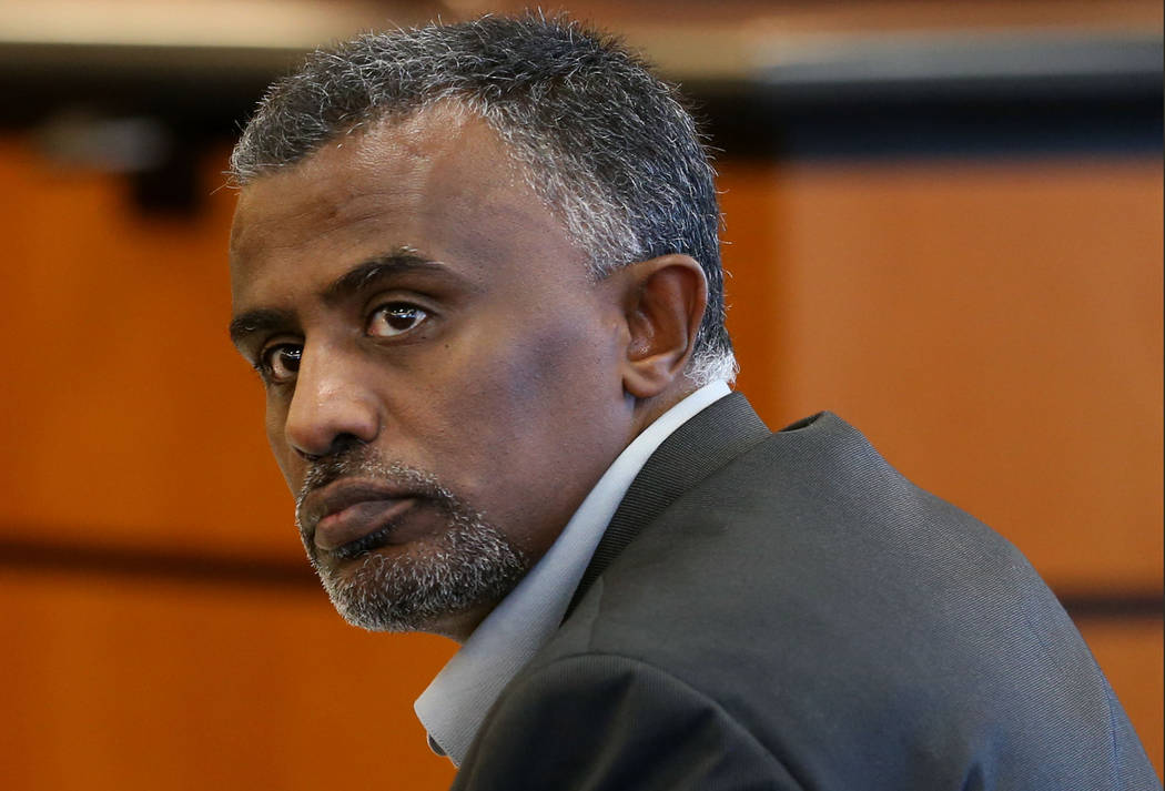 Fanuel Gebreyes listens to proceedings in Washoe County District Court in Reno, Nev., on Tuesday, Dec. 29, 2015. Gebreyes is fighting St. Mary's Regional Medical Center's determination of brain de ...