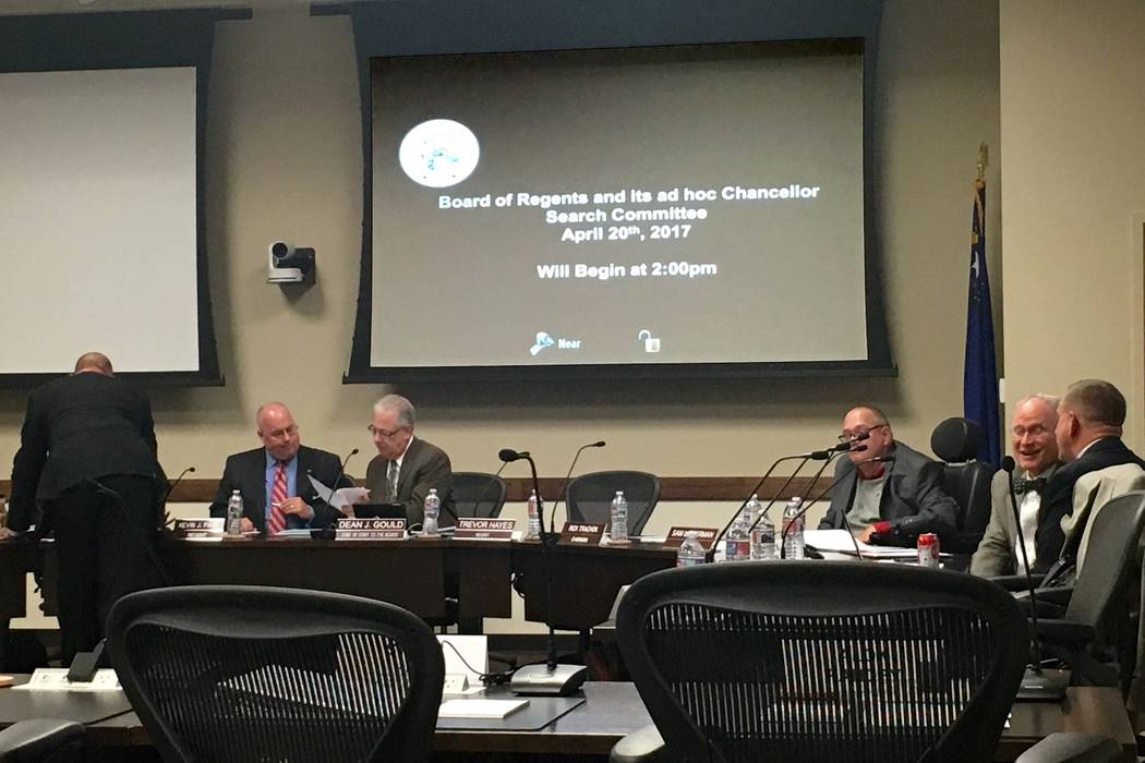 The Nevada Board of Regents discuss options after the top five semifinalists for the Nevada System of Higher Education System chancellor search withdrew their names, Thursday, April 21, 2017. (Nat ...