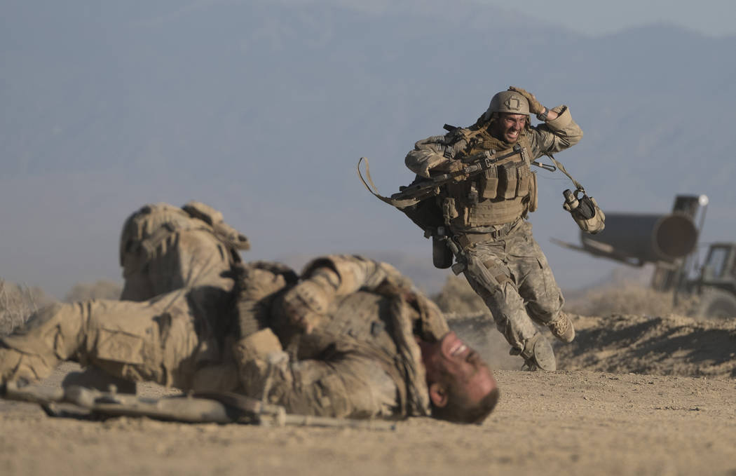 "John Cena and Aaron Taylor-Johnson in ""The Wall.""  David James Courtesy of Amazon Studios and Roadside Attractions"