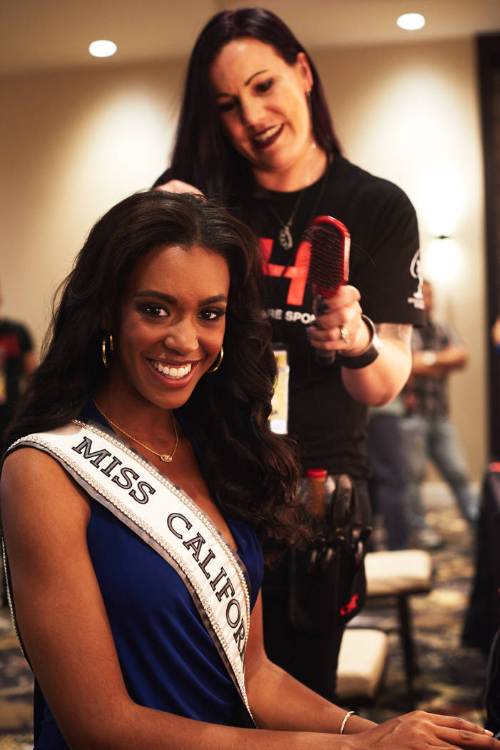 2017 Miss California India Williams gets her hair done by stylist Nik Martel from CHI Haircare after arriving in Las Vegas on Thursday, May 4, 2017. (Miss Universe Organization)
