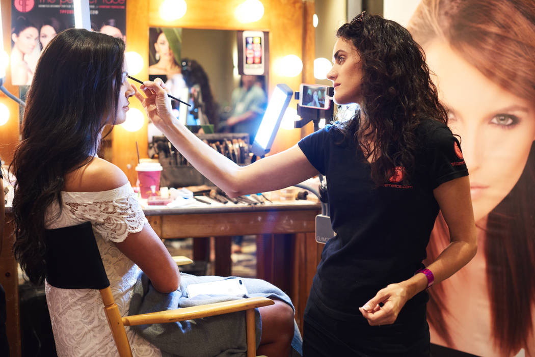 2017 Miss Utah Baylee Jensen gets her makeup done by Danielle Doyle from The Perfect Face Cosmetics after arriving in Las Vegas on Thursday, May 4, 2017. (Miss Universe Organization)