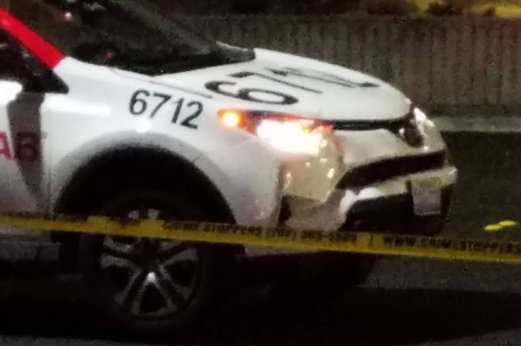 A 51-year-old woman was struck and killed by a taxi on Monday night. Neither impairment nor excessive speed appeared to be factors in the crash. Mike Shoro/Las Vegas Review-Journal
