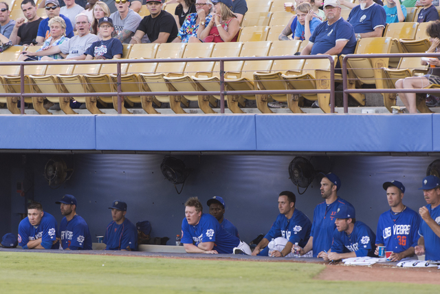 Las Vegas 51s players watch a game against the Albuquerque Isotopes from the dugout at Cashman Field in Las Vegas Thursday, July 7, 2016. (Jason Ogulnik/Las Vegas Review-Journal)