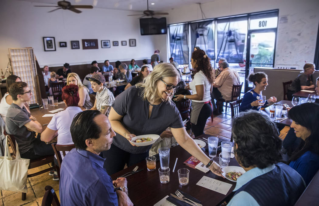 Guests are served ten beans with artichokes and corn nage during a pop-up dinner to preview chef Jose Navarro's upcoming restaurant Plantivore on Monday, May 8, 2017, in Henderson. Benjamin Hager  ...