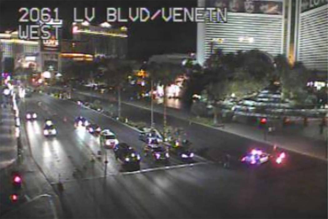 An auto-pedestrian accident on the Las Vegas Strip has shut down southbound traffic between Caesars Palace and The Mirage. Nevada Highway Patrol