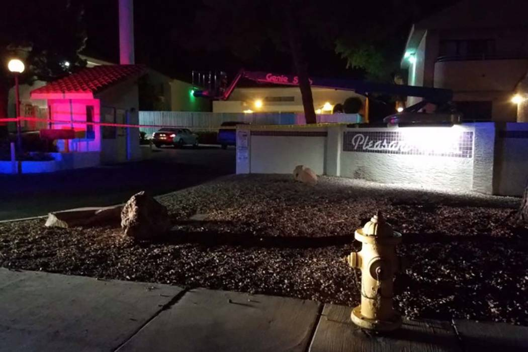 Las Vegas homicide detectives are investigating a stabbing inside an apartment at a complex, 960 N. Sloan Lane, early Tuesday morning. Mike Shoro/Las Vegas Review-Journal