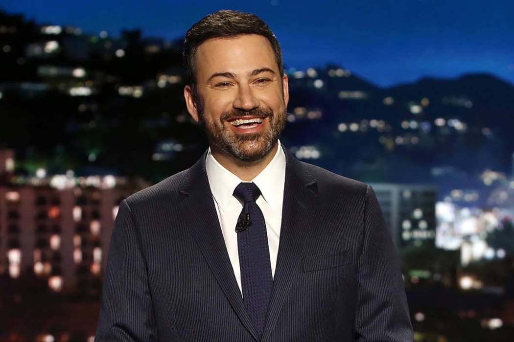 "In this April 11, 2017 photo, host Jimmy Kimmel appears during a taping of ""Jimmy Kimmel Live,"" in Los Angeles. Kimmel says his newborn son is home and doing great after open-heart surgery. Randy  ..."