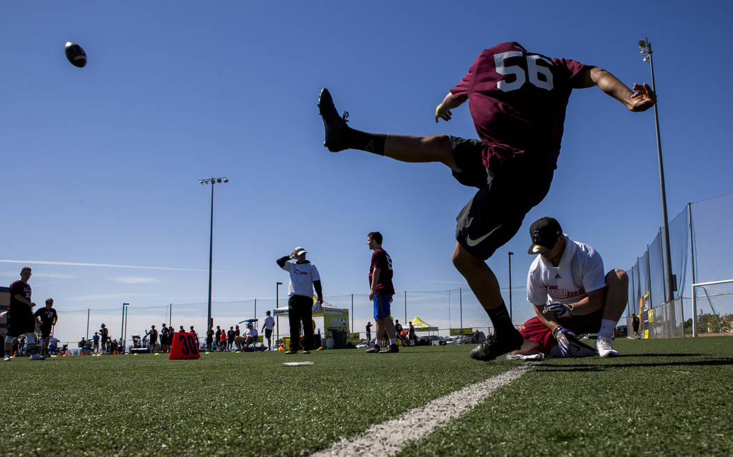 Anthony Tom-Makue of Hawaii attempts a 35-yard field goal during the Chris Sailer Kicking National Camp in Las Vegas on Sunday, May 14, 2017. Patrick Connolly Las Vegas Review-Journal @PConnPie