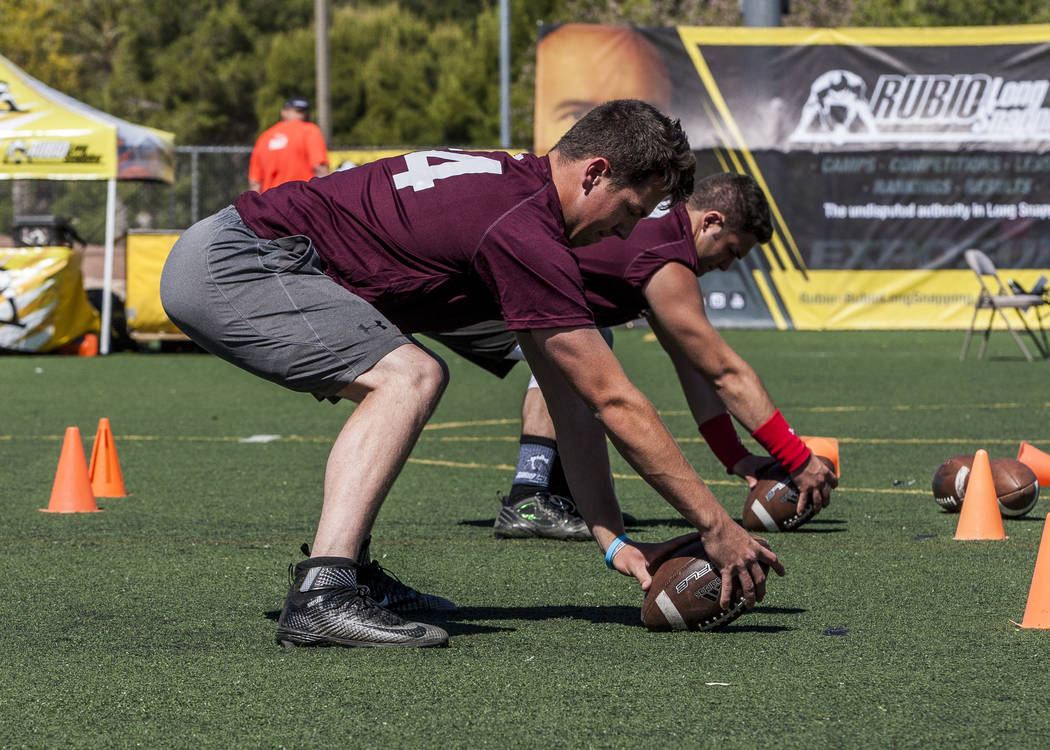 Long snappers practice during the Chris Sailer Kicking National Camp in Las Vegas on Sunday, May 14, 2017. Patrick Connolly Las Vegas Review-Journal @PConnPie