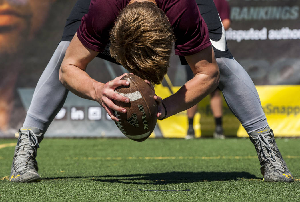 Dylan Black practices long snapping during the Chris Sailer Kicking National Camp in Las Vegas on Sunday, May 14, 2017. Patrick Connolly Las Vegas Review-Journal @PConnPie