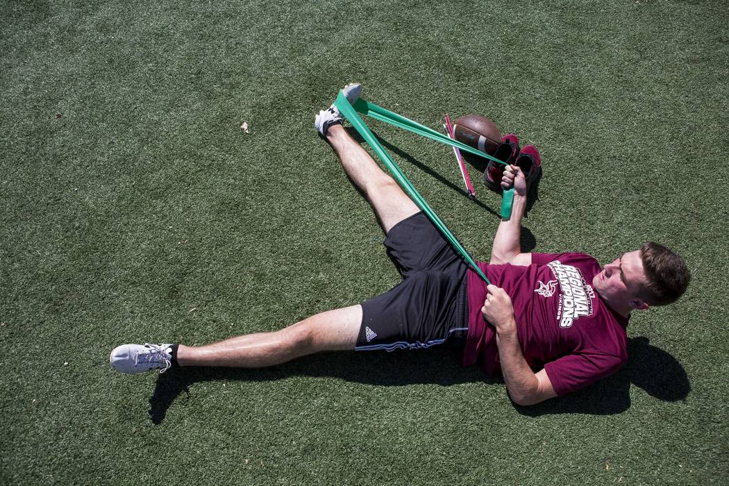 Caleb Griffin of Danville, Ill., stretches during the Chris Sailer Kicking National Camp in Las Vegas on Sunday, May 14, 2017. Patrick Connolly Las Vegas Review-Journal @PConnPie