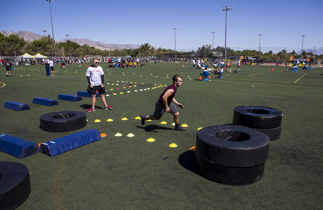 Jack Harrison of Mississippi runs through the agility course during the Chris Sailer Kicking National Camp in Las Vegas on Sunday, May 14, 2017. Patrick Connolly Las Vegas Review-Journal @PConnPie