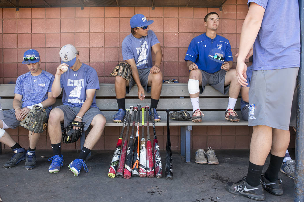 College of Southern Nevada baseball teammates rest in the dugout between drills during a practice at Morse Stadium on Tuesday, May 16, 2017 in Henderson.  Bridget Bennett Las Vegas Review-Journal  ...