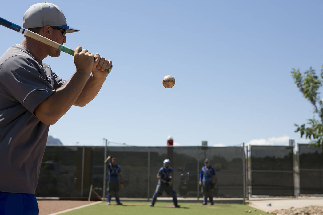 College of Southern Nevada baseball catching coach Dan Jaffe works with catchers during a practice at Morse Stadium on Tuesday, May 16, 2017, in Henderson.  Bridget Bennett Las Vegas Review-Journa ...