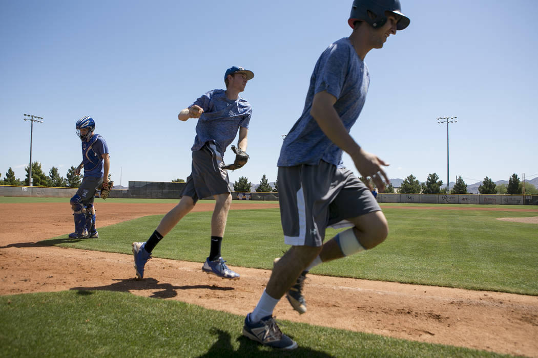 College of Southern Nevada baseball players run a play during a practice at Morse Stadium on Tuesday, May 16, 2017, in Henderson.  Bridget Bennett Las Vegas Review-Journal @bridgetkbennett