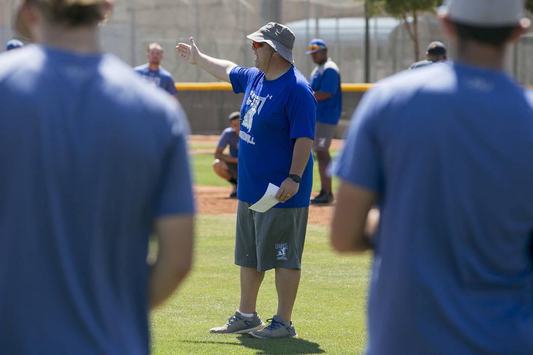 College of Southern Nevada baseball head coach Nick Garritano speaks to players during a practice at Morse Stadium on Tuesday, May 16, 2017, in Henderson.  Bridget Bennett Las Vegas Review-Journal ...