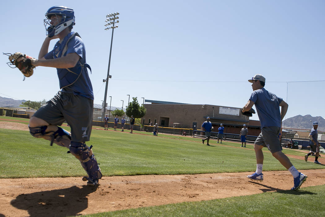 College of Southern Nevada baseball players take to the field during a practice at Morse Stadium on Tuesday, May 16, 2017, in Henderson.  Bridget Bennett Las Vegas Review-Journal @bridgetkbennett