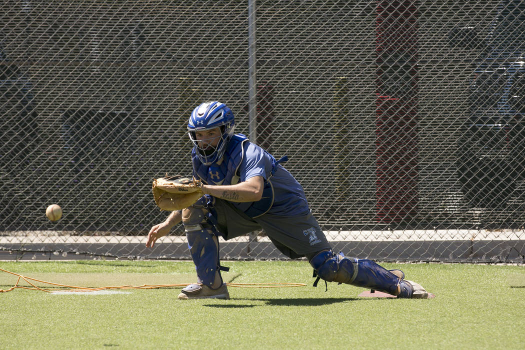 College of Southern Nevada baseball player Nicco Festa participates in catching drills during a practice at Morse Stadium on Tuesday, May 16, 2017, in Henderson.  Bridget Bennett Las Vegas Review- ...