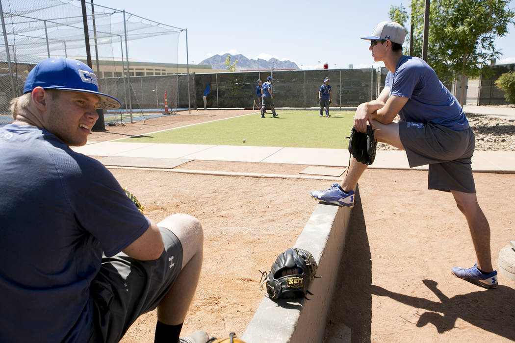 College of Southern Nevada baseball players watch catching drills during a practice at Morse Stadium on Tuesday, May 16, 2017, in Henderson.  Bridget Bennett Las Vegas Review-Journal @bridgetkbennett