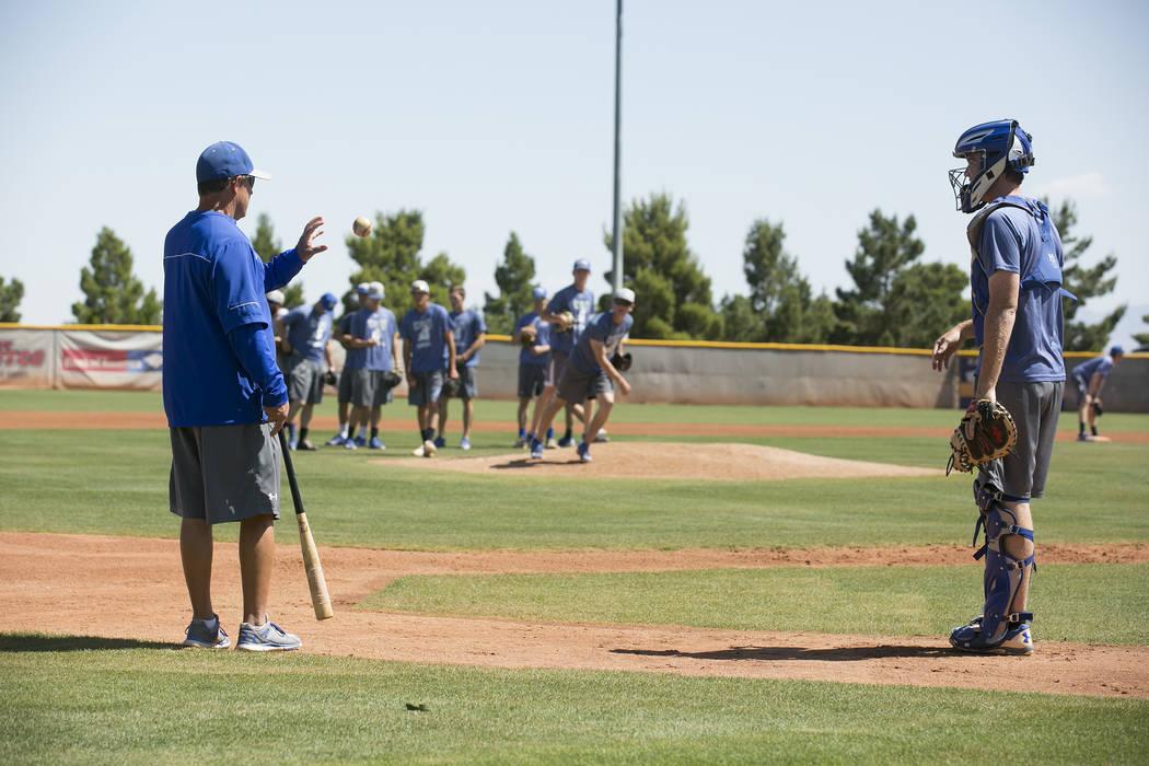 College of Southern Nevada baseball players run drills during a practice at Morse Stadium on Tuesday, May 16, 2017, in Henderson.  Bridget Bennett Las Vegas Review-Journal @bridgetkbennett