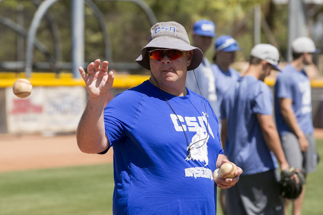 College of Southern Nevada baseball head coach Nick Garritano leads drills during a practice at Morse Stadium on Tuesday, May 16, 2017, in Henderson.  Bridget Bennett Las Vegas Review-Journal @bri ...