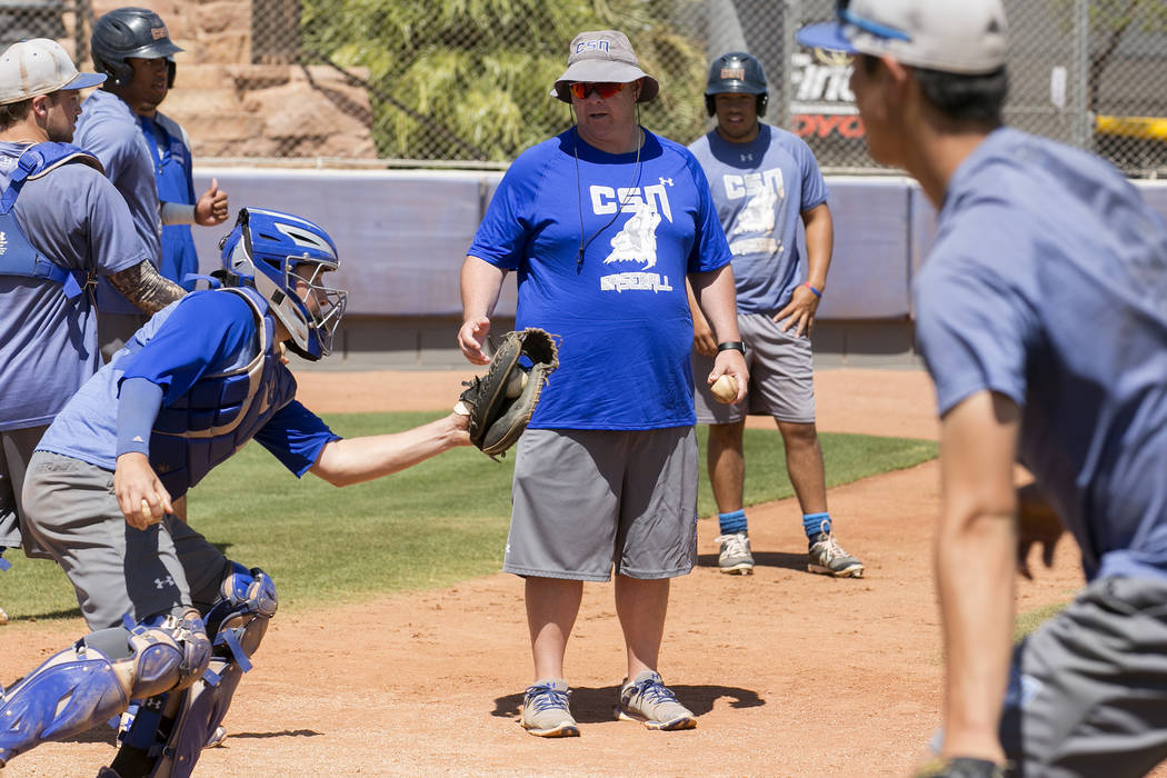College of Southern Nevada baseball head coach Nick Garritano, center, works with players during practice at Morse Stadium on Tuesday, May 16, 2017, in Henderson.  Bridget Bennett Las Vegas Review ...