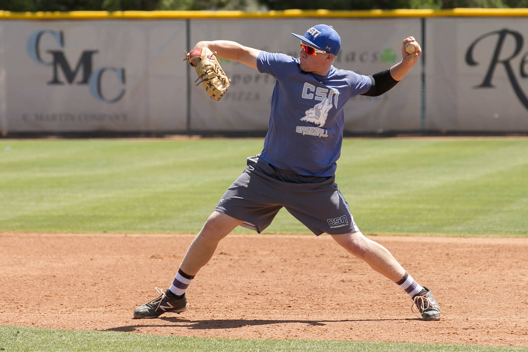 College of Southern Nevada baseball player Justin Lutes throws the ball during a practice at Morse Stadium on Tuesday, May 16, 2017, in Henderson.  Bridget Bennett Las Vegas Review-Journal @bridge ...