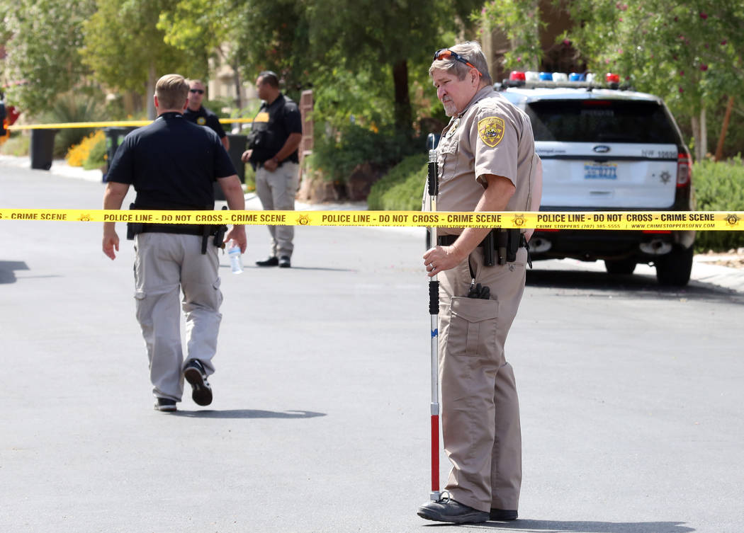 Clark County Animal Control officer at the scene where Metro investigate after a dog attacked and killed a 6-month-old child in the 9100 block of Brilliant Prairie Court in northwest Las Vegas, Mo ...