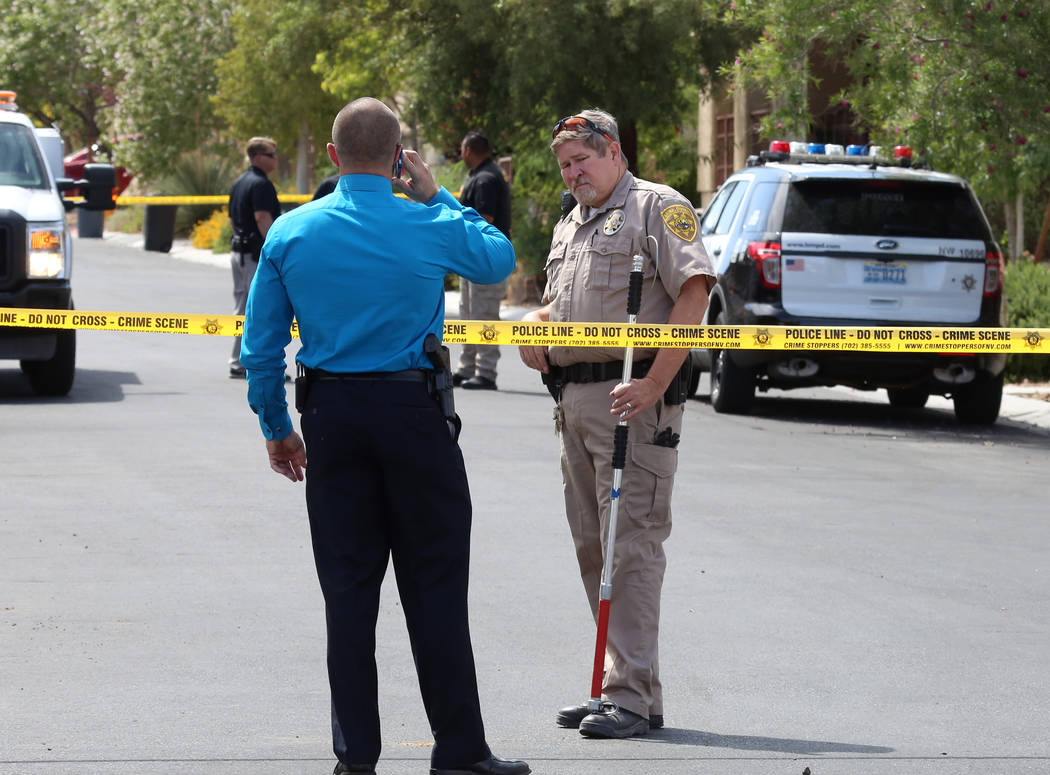 Metro police investigate after a dog attacked and killed a 6-month-old child in the 9100 block of Brilliant Prairie Court in northwest Las Vegas, Monday, May 8, 2017. Bizuayehu Tesfaye Las Vegas R ...