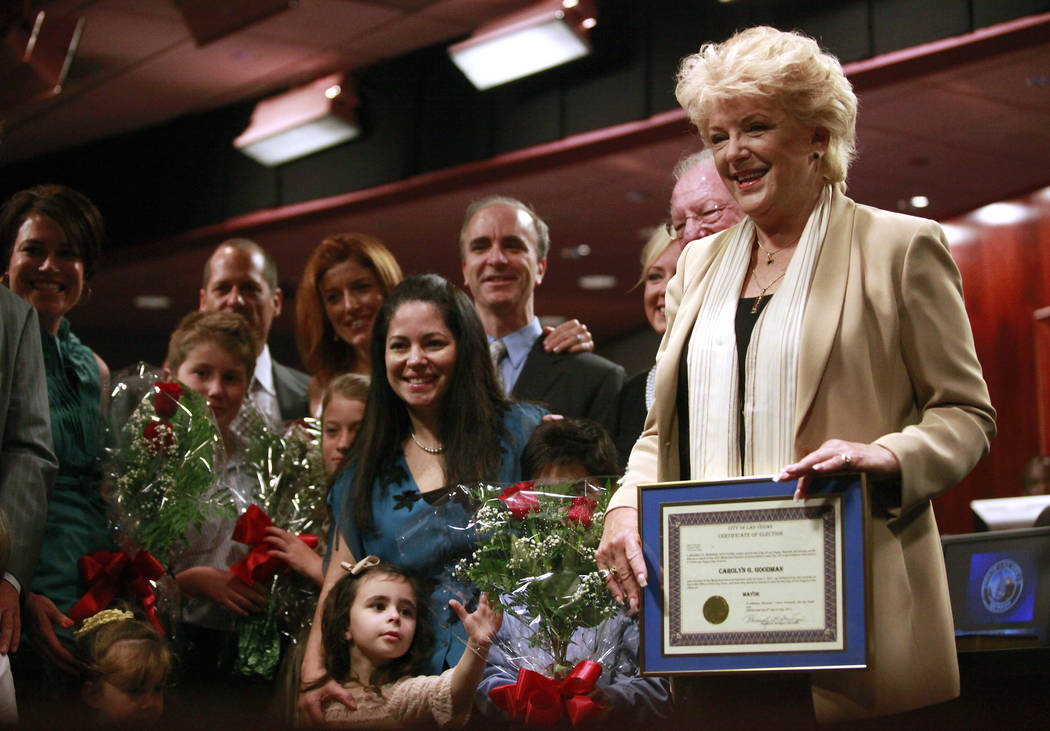Mayor Carolyn Goodman appears with her family at her swearing-in ceremony at City Hall in Las Vegas on July 6, 2011. Jessica Ebelhar Las Vegas Review-Journal