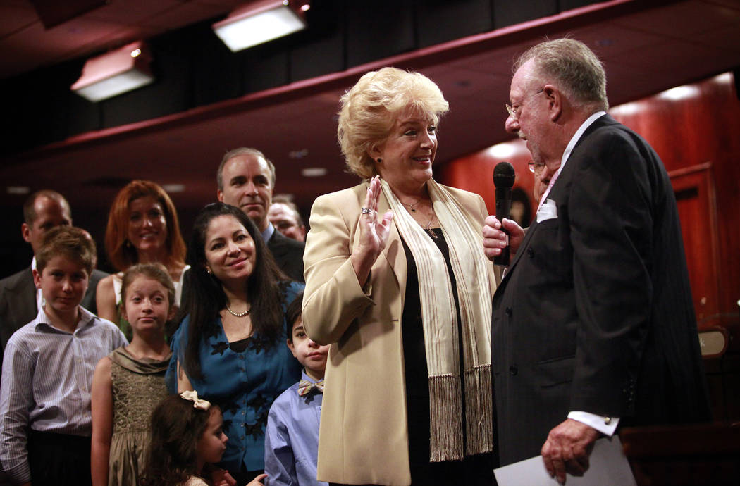 Las Vegas Mayor Carolyn Goodman laughs with  her husband, outging Mayor Oscar Goodman, during her swearing-in ceremony at City Hall in Las Vegas on July 6, 2011. Jessica Ebelhar Las Vegas Review-J ...