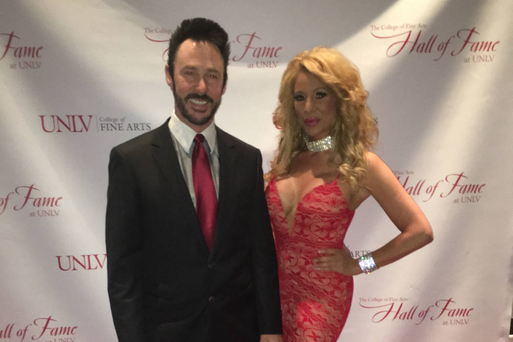 Lance Burton and Gabriela Versace are shown on the red carpet at the 14th annual UNLV Fine Arts Hall of Fame on Tuesday, March 7, 2017. (John Katsilometes/Las Vegas Review-Journal)