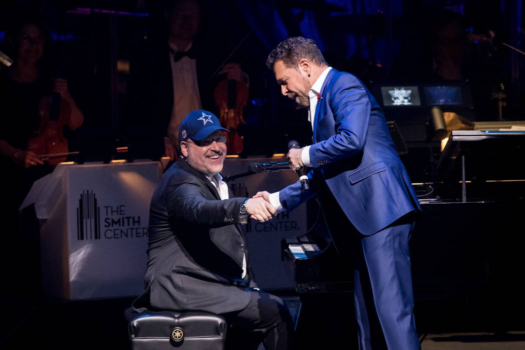 The fifth-anniversary celebration of The Smith Center for the Performing Arts on Tuesday, March 7, 2017, in Downtown Las Vegas. Frank Wildhorn and Clint Holmes are pictured here. (Erik Kabik)