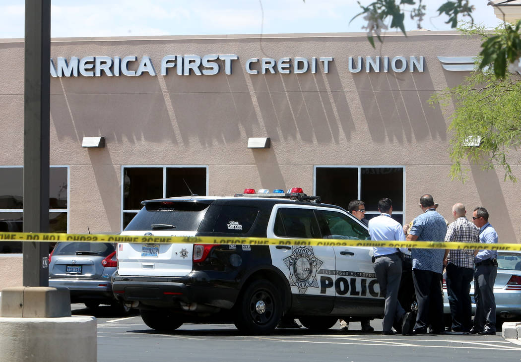 Las Vegas police are investigating an attempted robbery at America First Credit Union, 6090 S. Durango Drive, in which a security guard may have fired shots at the robber on Tuesday, May 9, 2017.  ...