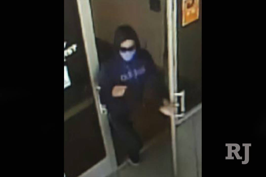 A masked man attempted to rob America First Credit Union, 6090 S. Durango Drive, near Russell Road Tuesday afternoon. (Metropolitan Police Department)