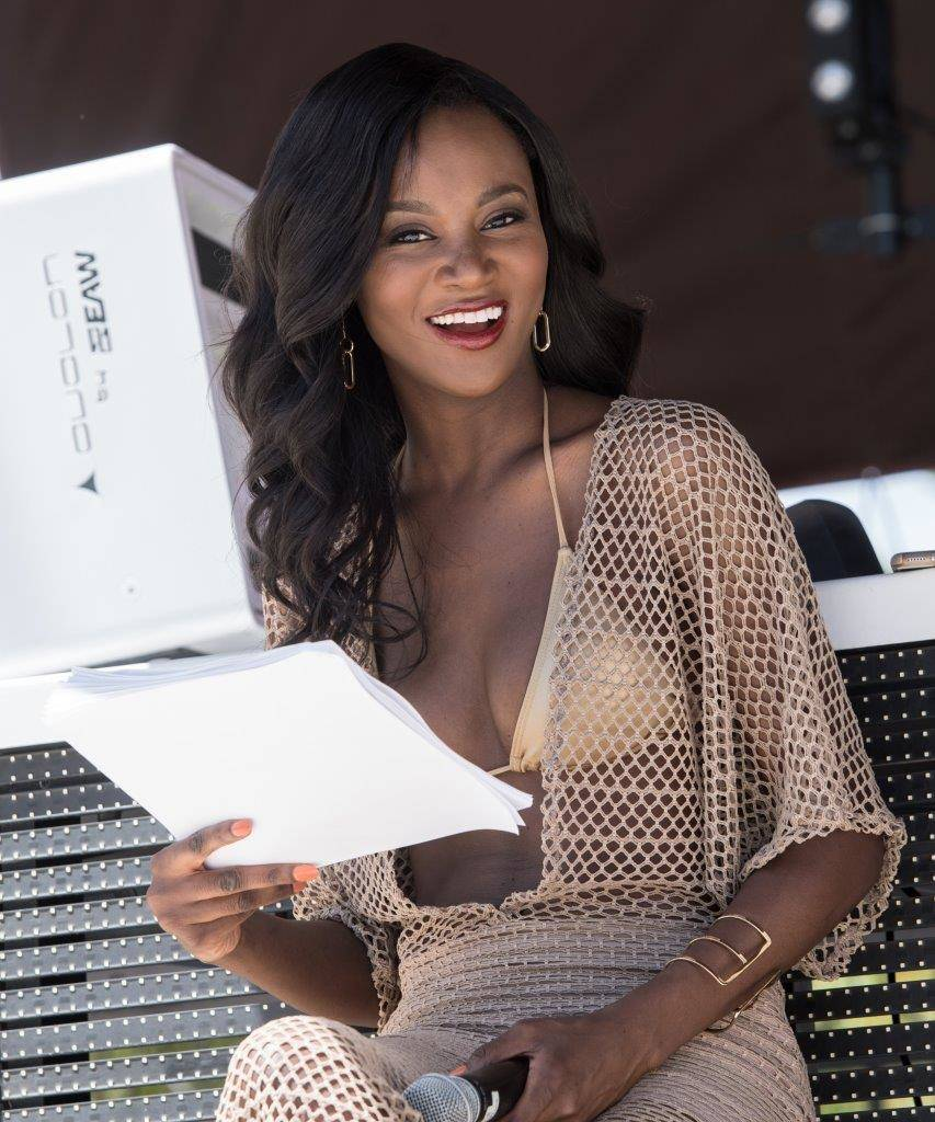 Miss USA Pageant contestants take part in a Yandy Swimwear show at Daylight Beach Club at Mandalay Bay on Friday, May 5, 2017, in Las Vegas. 2016 Miss USA Deshauna Barber is pictured here. (Tom Do ...