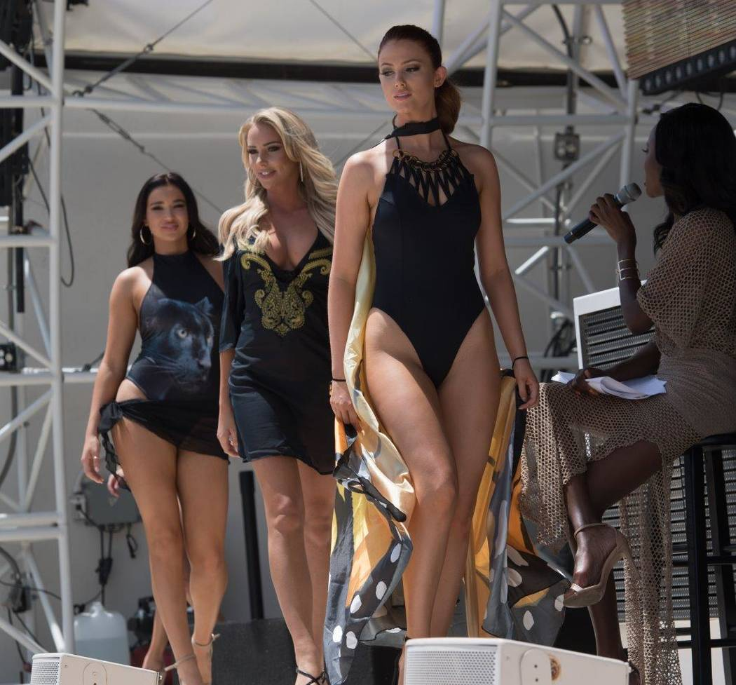 Miss USA Pageant contestants take part in a Yandy Swimwear show at Daylight Beach Club at Mandalay Bay on Friday, May 5, 2017, in Las Vegas. (Tom Donoghue)
