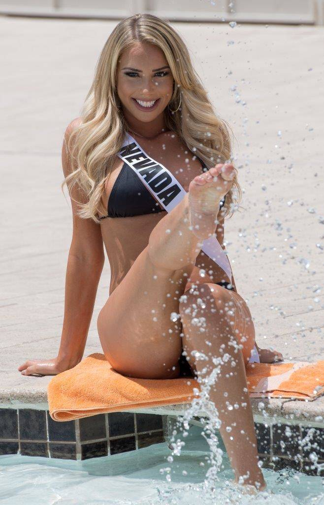 Miss USA Pageant contestants take part in a Yandy Swimwear show at Daylight Beach Club at Mandalay Bay on Friday, May 5, 2017, in Las Vegas. Miss Nevada Lauren York is pictured here. (Tom Donoghue)