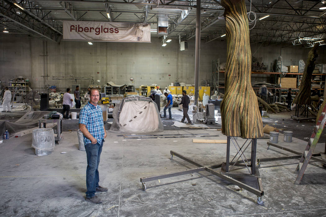 Jason Cooper, owner of Gist Specialties, stands in the company's 53,000 square foot warehouse in North Las Vegas on Wednesday, May 10, 2017. Gist Specialities makes custom wood and metal fabricati ...