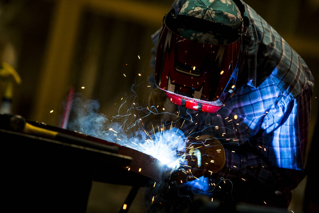 Ryan Bieman works on some welding at Gist Specialties, which makes custom wood and metal fabrications, in North Las Vegas on Wednesday, May 10, 2017. Patrick Connolly Las Vegas Review-Journal @PCo ...