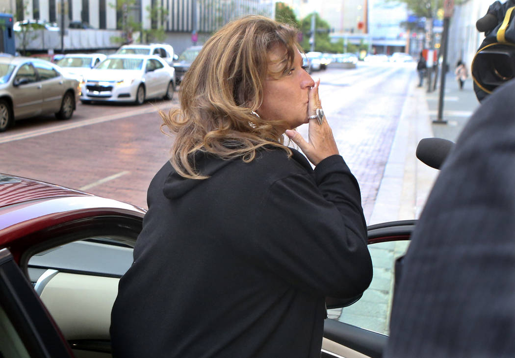 "Reality TV personality Abby Lee Miller of ""Dance Moms"" blows a kiss after her federal bankruptcy fraud sentencing hearing in Pittsburgh on Monday, May 8, 2017. On Tuesday, Miller was sentenced to  ..."