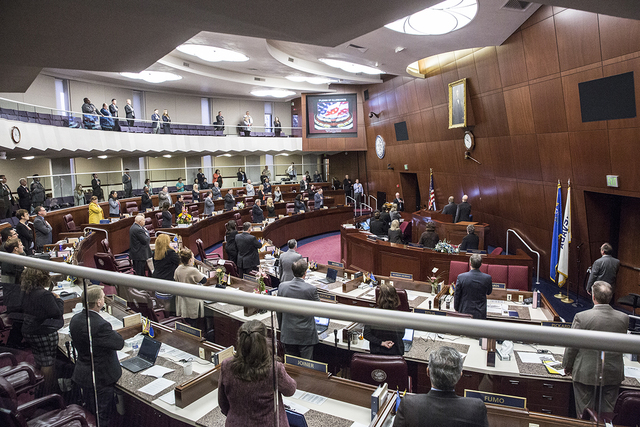 Members of the Nevada Assembly, Thursday, Feb. 9, 2017, at the Legislative Building in Carson City. (Benjamin Hager/Las Vegas Review-Journal) @benjaminhphoto