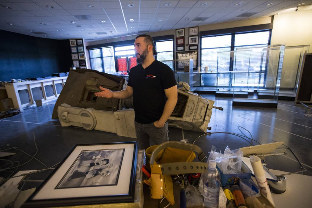 John Dolmayan talks about the opening of the new location of his comic book store, Torpedo Comics, at 9300 Arroyo Crossing Parkway, in Las Vegas on Friday, May 5, 2017. Dolmoyan is also the drumme ...