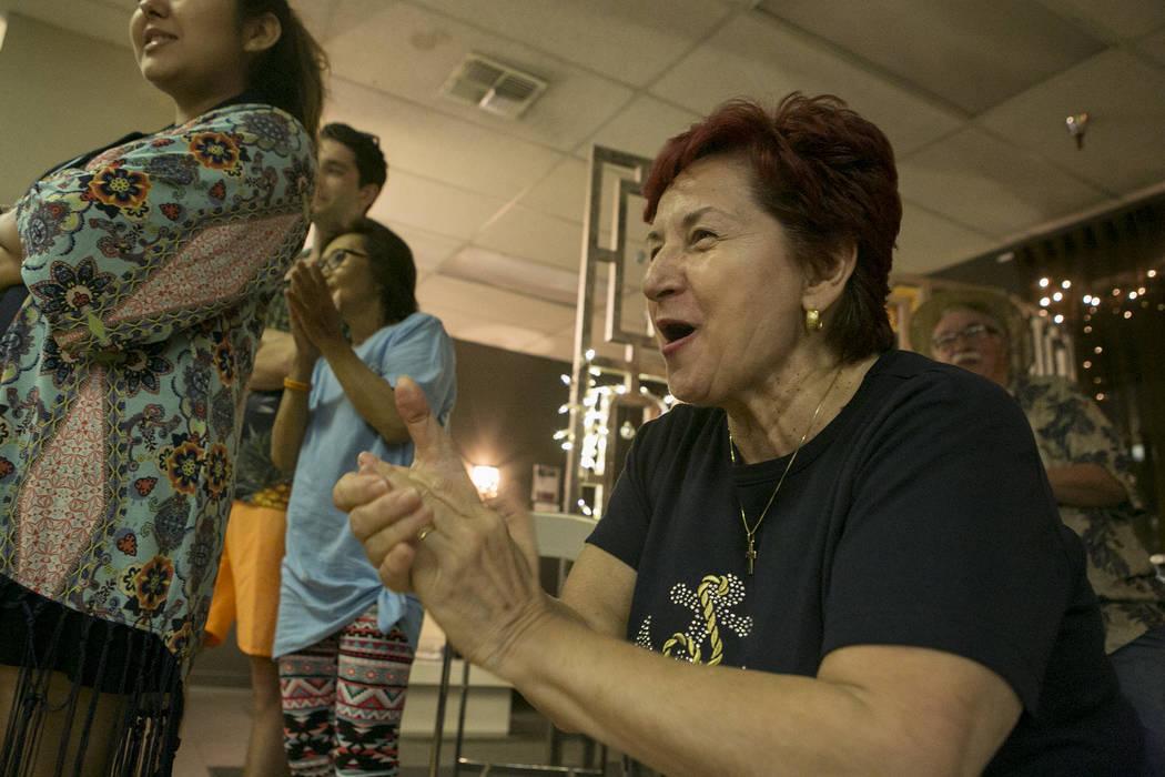 Maria Clita cheers on friends during an ice cream eating competition at Arthur Murray Dance Studio on Thursday, May 11, 2017 in Las Vegas. Bridget Bennett Las Vegas Review-Journal @bridgetkbennett