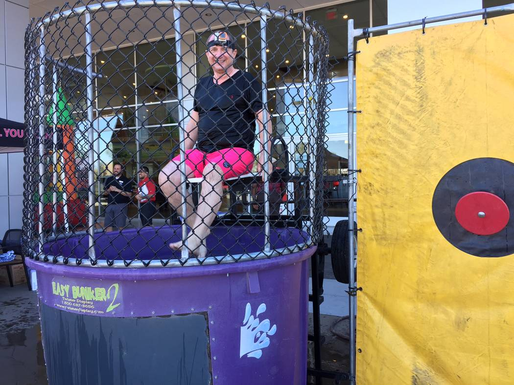 Findlay Toyota Findlay Toyota General Manager John Barr gets ready to be dunked again during a recent fund raiser to help the Leukemia and Lymphoma Society of Southern Nevada.