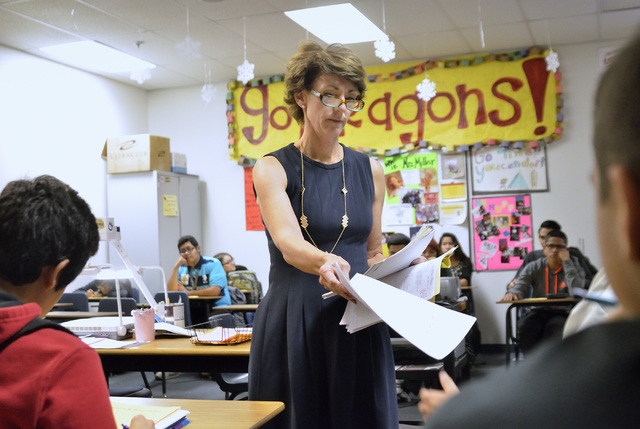 Algebra II teacher Tina Miller returns graded tests in her classroom at Del Sol High School at 3100 E. Patrick Lane in Las Vegas on Monday, Nov. 24, 2014. (Bill Hughes/Las Vegas Review-Journal)