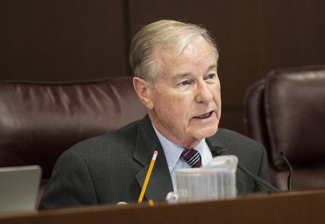 Sen. David Parks, D-Las Vegas, makes an inquiry during a Senate Government Affairs Committee meeting on the third day of the Nevada Legislative session on Wednesday, Feb. 8, 2017, at the Legislati ...