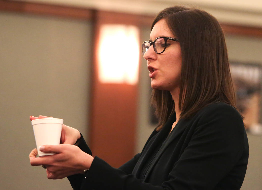 Prosecutor Kelsey Einhorn delivers her closing statement to the jury on Wednesday, May 10, 2017, at the Regional Justice Center in the trial of Frederick Richards, a former Bellagio club host accu ...