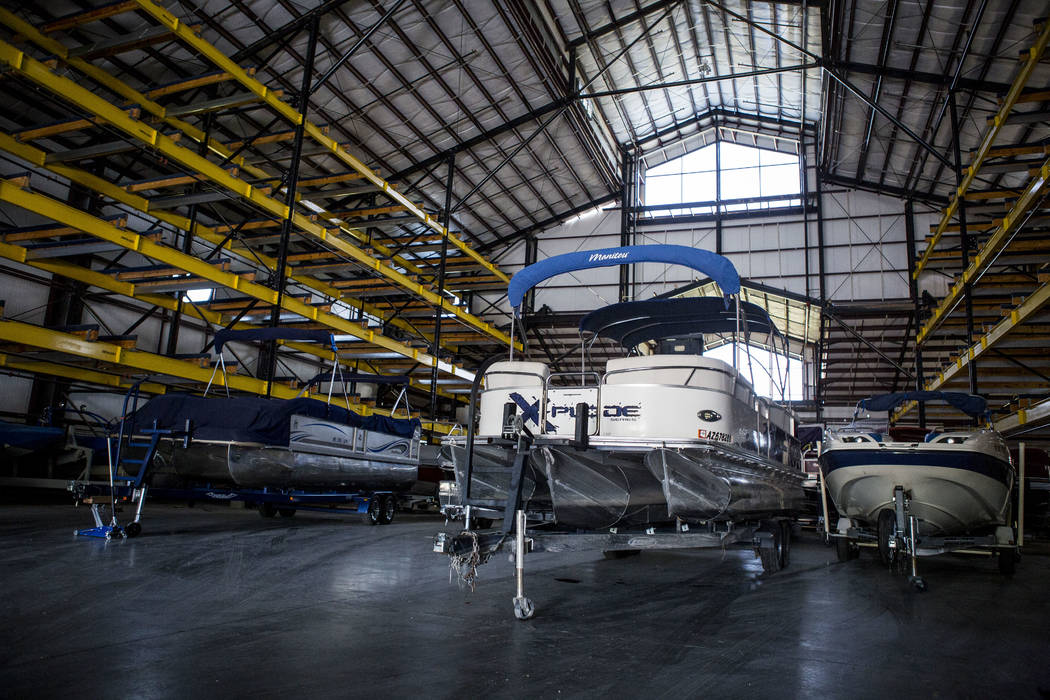 Boats sit in a storage hangar of Laughlin Bay Marina in Laughlin, Sunday, May 14, 2017. (Patrick Connolly Las Vegas Review-Journal) @PConnPie