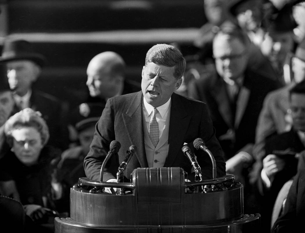 President John F. Kennedy delivers his inaugural address Jan. 20, 1961, at Capitol Hill in Washington, after taking the oath of office. The voice of a young John F. Kennedy can be heard on what Ha ...